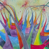 "Colourfest. 20x20"". Watercolour on Gessoed Paper. Lianne Todd $650.00, framed."
