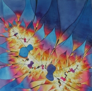"Fire Dance. Watercolour on Paper. 20x20"" (c) Lianne Todd. $650.00, framed"