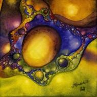 "Fried Eggs. Watercolour on Aquabord 6x6"" NFS (c) Lianne Todd"