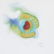 "Nebula Negative II. Watercolour on Yupo 10x10"" Lianne Todd. $125.00, framed."