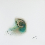 "Nebula Negative I. Watercolour on Yupo. 10x10"". Artist Lianne Todd. SOLD. Private Collection."