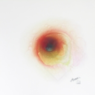 "Negative Nebula IV. Watercolour on Yupo 10x10"". Artist Lianne Todd. SOLD. Private Collection."