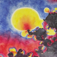 "Turbulence & Bubbles. Watercolour on Gessoed Paper. 20x20"".$650.00, framed. Artist Lianne Todd."