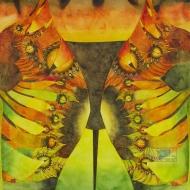 "Aztec Gold. Watercolour on Gessoed Paper. 20x20"". $650.00, framed. Artist Lianne Todd."