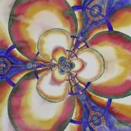 "Triad. Artist Lianne Todd. Watercolour on Paper. 20x20"". $650.00, framed."