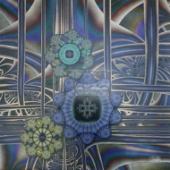 "Pretty Cogs in the Big Machine. Fractal Digital Art printed on metal, single edition. 24x24"". $450.00 Artist Lianne Todd."