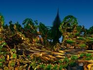 "Coniferous Tree on Planet B. Digital fractal art printed on metal, single print. 24x32"". $550.00. Artist Lianne Todd."