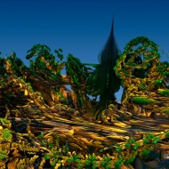 "Coniferous Tree on Planet B. Digital fractal art printed on metal, single print. 24x32"". $550.00. Artist Lianne Todd."