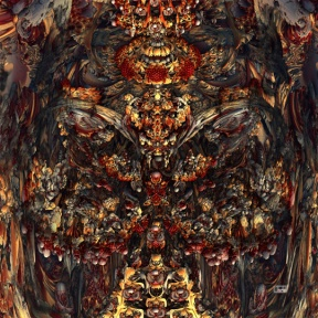 "Feast. Digital Fractal Art printed on metal, single edition print. 24x24"". Artist Lianne Todd. $425.00"