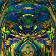 "Frog Pond. Digital Fractal Art, HD printed on metal. 12x12"". Artist Lianne Todd. $300.00."
