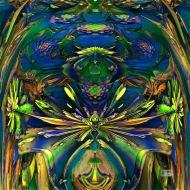 "Frog Pond. Digital Fractal Art, HD printed on metal. 12x12"". Artist Lianne Todd. $300.00."